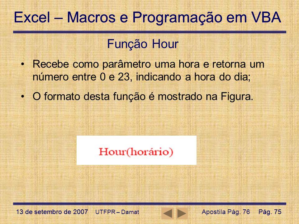 Excel – Macros e Programação em VBA 13 de setembro de 2007Pág. 75 Excel – Macros e Programação em VBA 13 de setembro de 2007Pág. 75 UTFPR – Damat Funç