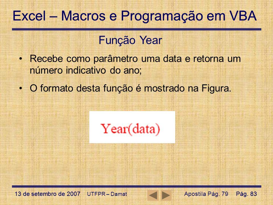 Excel – Macros e Programação em VBA 13 de setembro de 2007Pág. 83 Excel – Macros e Programação em VBA 13 de setembro de 2007Pág. 83 UTFPR – Damat Funç
