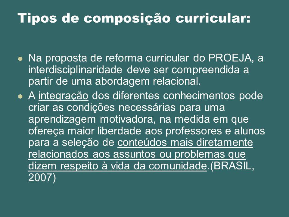 Na proposta de reforma curricular do PROEJA, a interdisciplinaridade deve ser compreendida a partir de uma abordagem relacional. A integração dos dife