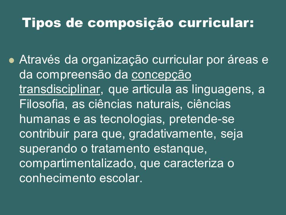 Através da organização curricular por áreas e da compreensão da concepção transdisciplinar, que articula as linguagens, a Filosofia, as ciências natur