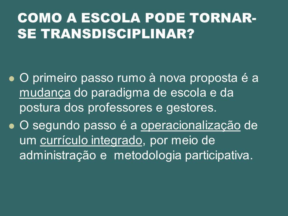 COMO A ESCOLA PODE TORNAR- SE TRANSDISCIPLINAR? O primeiro passo rumo à nova proposta é a mudança do paradigma de escola e da postura dos professores