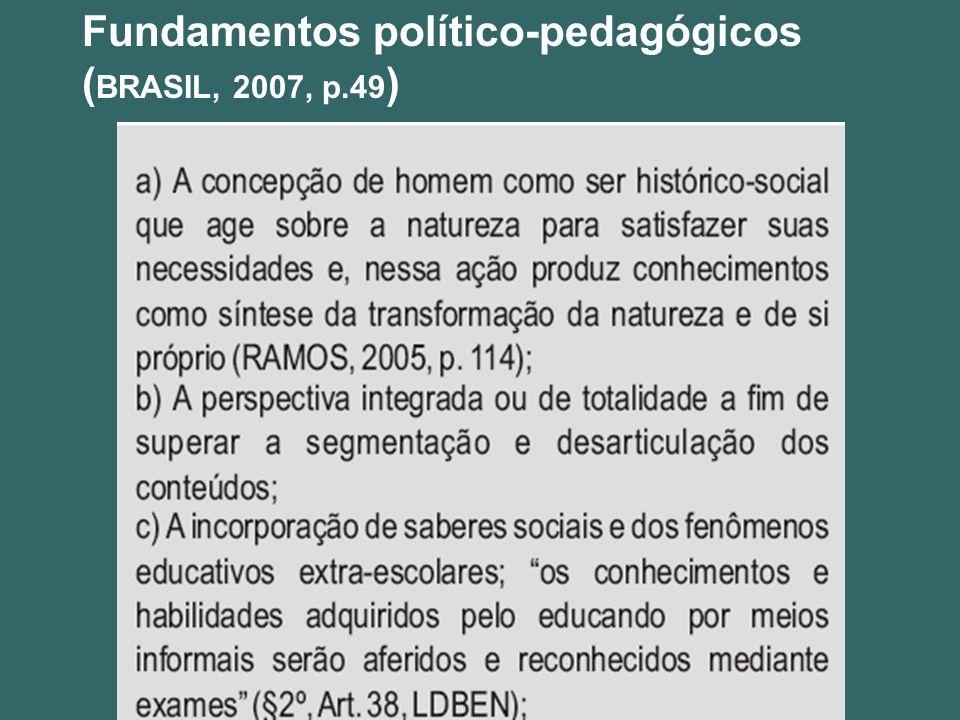 Fundamentos político-pedagógicos ( BRASIL, 2007, p.49 )