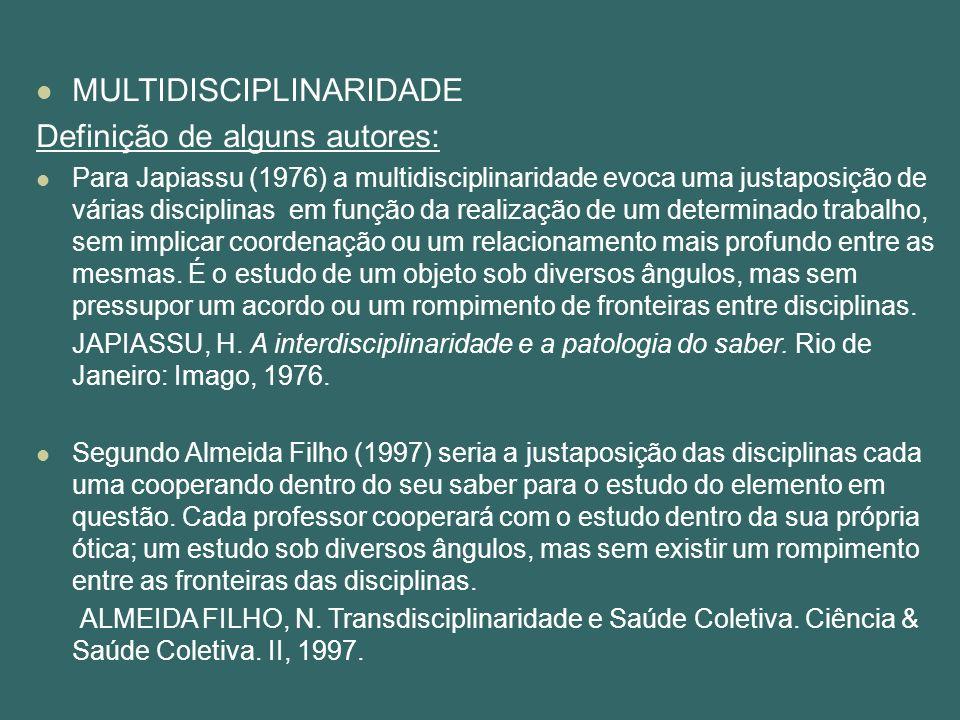 MULTIDISCIPLINARIDADE Definição de alguns autores: Para Japiassu (1976) a multidisciplinaridade evoca uma justaposição de várias disciplinas em função