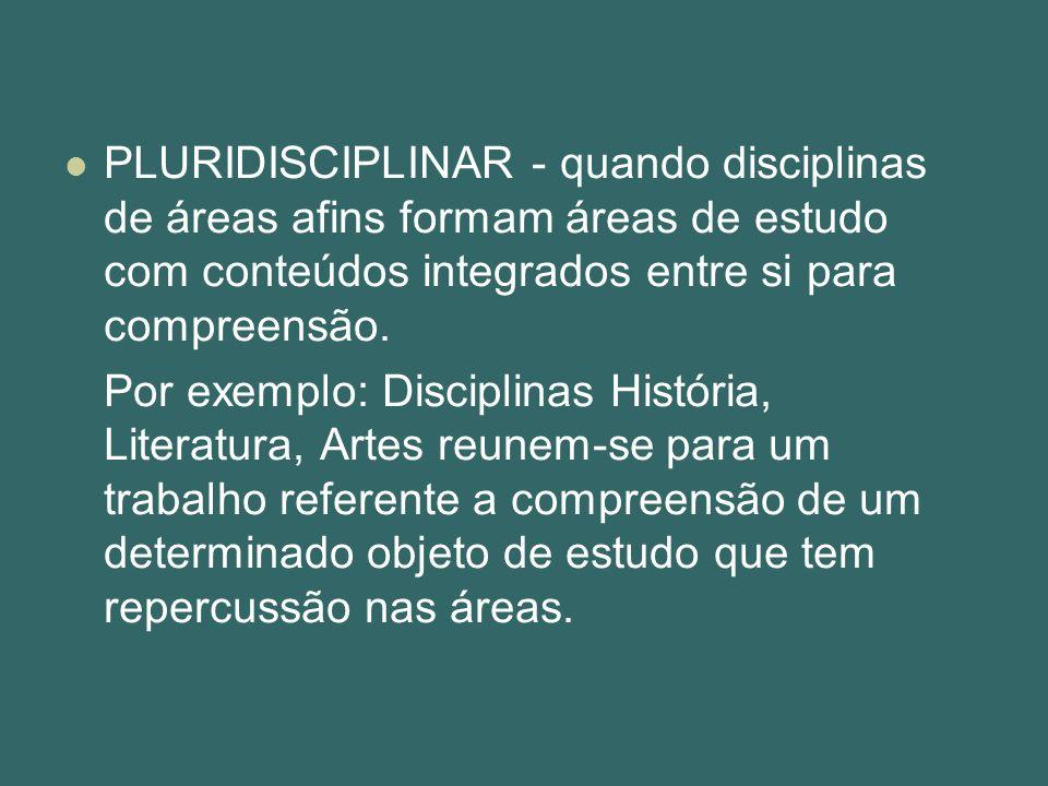 PLURIDISCIPLINAR - quando disciplinas de áreas afins formam áreas de estudo com conteúdos integrados entre si para compreensão. Por exemplo: Disciplin