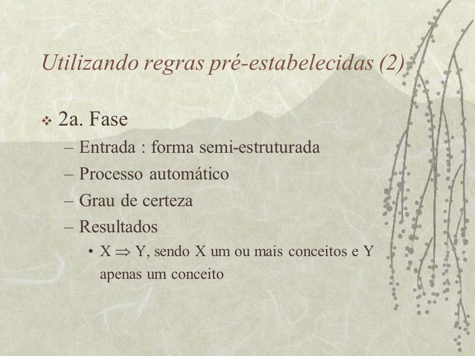 Utilizando regras pré-estabelecidas (2) 2a. Fase –Entrada : forma semi-estruturada –Processo automático –Grau de certeza –Resultados X Y, sendo X um o