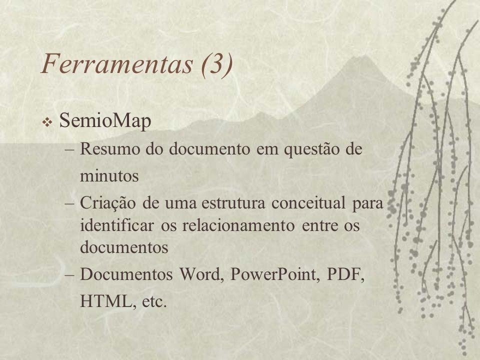 Ferramentas (3) SemioMap –Resumo do documento em questão de minutos –Criação de uma estrutura conceitual para identificar os relacionamento entre os d