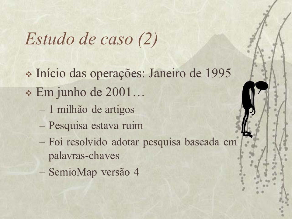Estudo de caso (2) Início das operações: Janeiro de 1995 Em junho de 2001… –1 milhão de artigos –Pesquisa estava ruim –Foi resolvido adotar pesquisa b