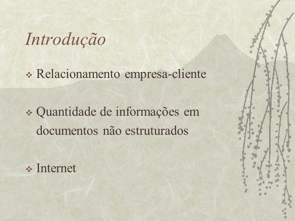 Introdução Relacionamento empresa-cliente Quantidade de informações em documentos não estruturados Internet
