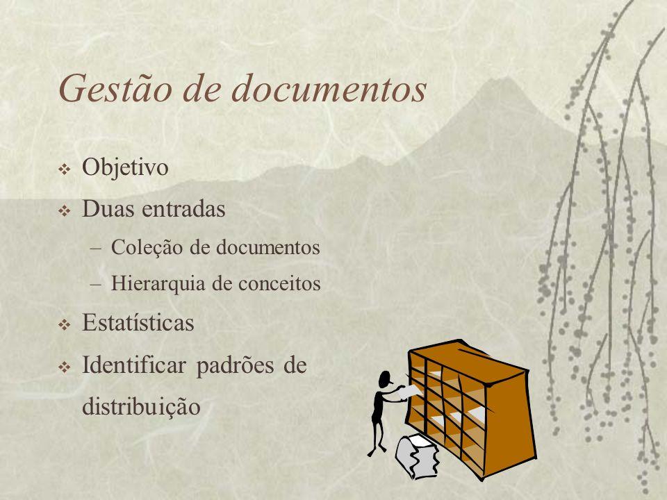 Gestão de documentos Objetivo Duas entradas –Coleção de documentos –Hierarquia de conceitos Estatísticas Identificar padrões de distribuição