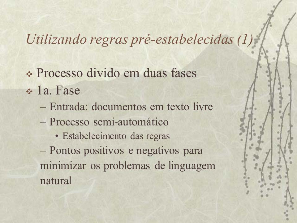 Utilizando regras pré-estabelecidas (1) Processo divido em duas fases 1a. Fase –Entrada: documentos em texto livre –Processo semi-automático Estabelec