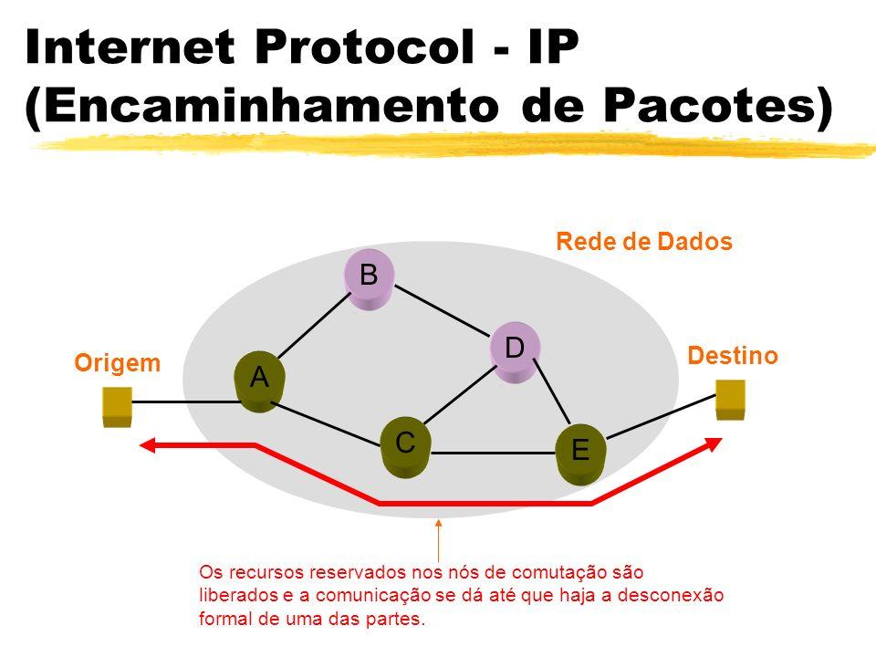 Internet Protocol - IP (Encaminhamento de Pacotes) A B C D E Origem Destino Rede de Dados Os recursos reservados nos nós de comutação são liberados e a comunicação se dá até que haja a desconexão formal de uma das partes.