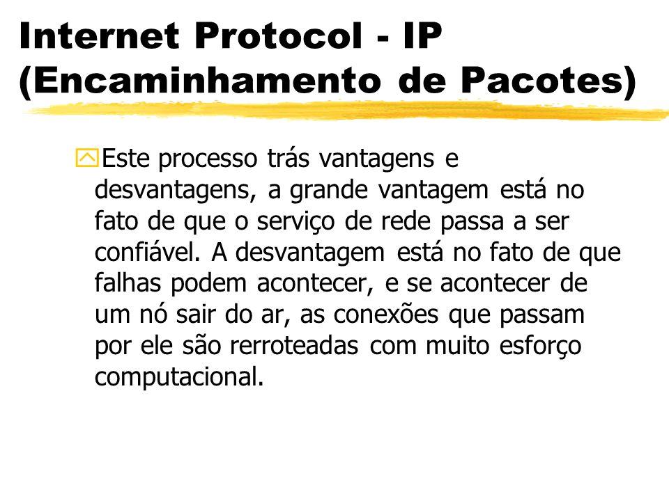 Internet Protocol - IP (Encaminhamento de Pacotes) yEste processo trás vantagens e desvantagens, a grande vantagem está no fato de que o serviço de re
