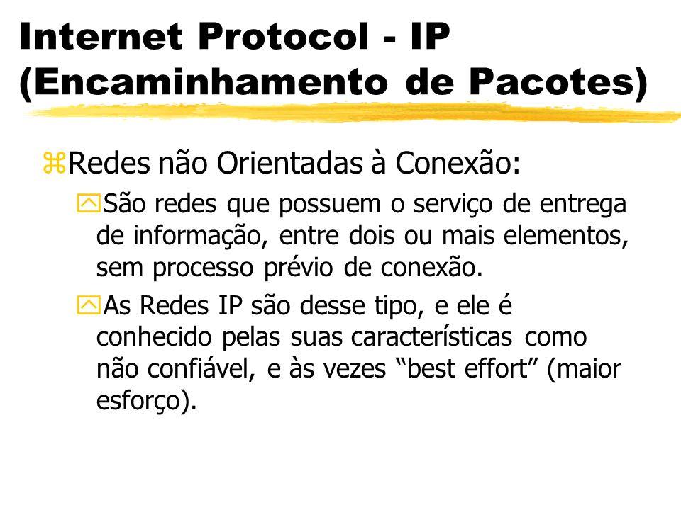 Internet Protocol - IP (Encaminhamento de Pacotes) zRedes não Orientadas à Conexão: ySão redes que possuem o serviço de entrega de informação, entre dois ou mais elementos, sem processo prévio de conexão.