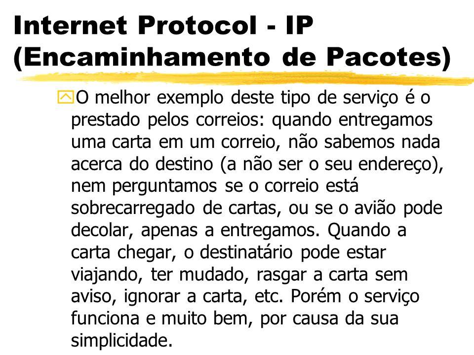 Internet Protocol - IP (Encaminhamento de Pacotes) yO melhor exemplo deste tipo de serviço é o prestado pelos correios: quando entregamos uma carta em um correio, não sabemos nada acerca do destino (a não ser o seu endereço), nem perguntamos se o correio está sobrecarregado de cartas, ou se o avião pode decolar, apenas a entregamos.