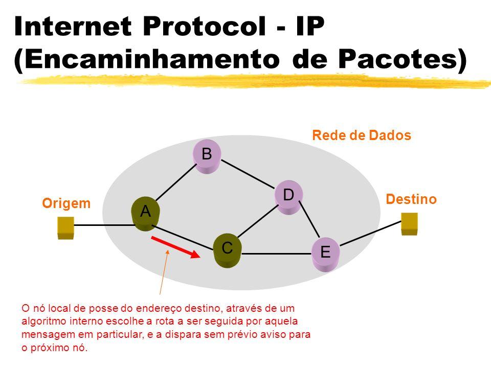 A B C D E Origem Destino Rede de Dados O nó local de posse do endereço destino, através de um algoritmo interno escolhe a rota a ser seguida por aquela mensagem em particular, e a dispara sem prévio aviso para o próximo nó.
