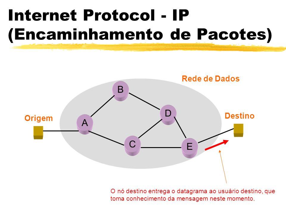 Internet Protocol - IP (Encaminhamento de Pacotes) A B C D E Origem Destino Rede de Dados O nó destino entrega o datagrama ao usuário destino, que toma conhecimento da mensagem neste momento.