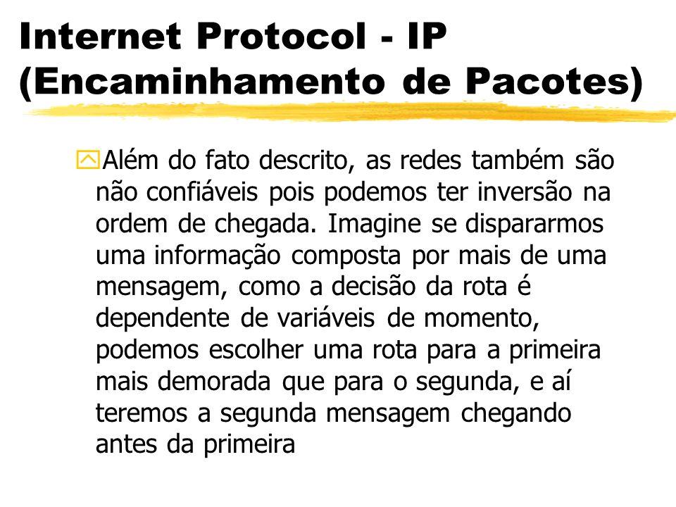 Internet Protocol - IP (Encaminhamento de Pacotes) yAlém do fato descrito, as redes também são não confiáveis pois podemos ter inversão na ordem de ch