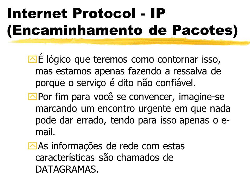 Internet Protocol - IP (Encaminhamento de Pacotes) yÉ lógico que teremos como contornar isso, mas estamos apenas fazendo a ressalva de porque o serviço é dito não confiável.