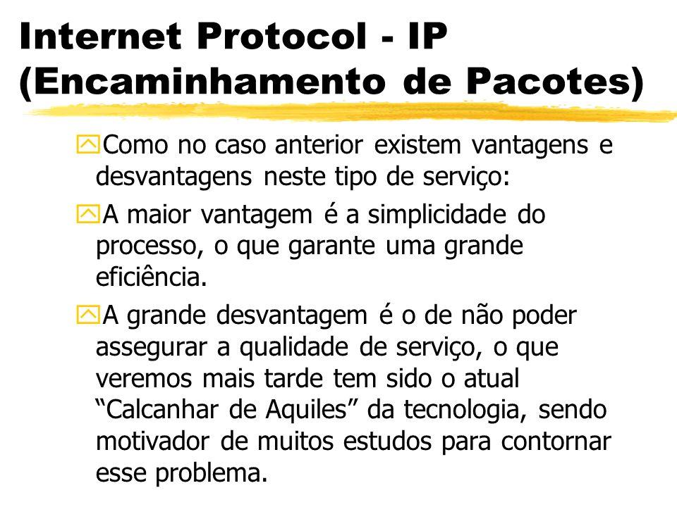 Internet Protocol - IP (Encaminhamento de Pacotes) yComo no caso anterior existem vantagens e desvantagens neste tipo de serviço: yA maior vantagem é a simplicidade do processo, o que garante uma grande eficiência.