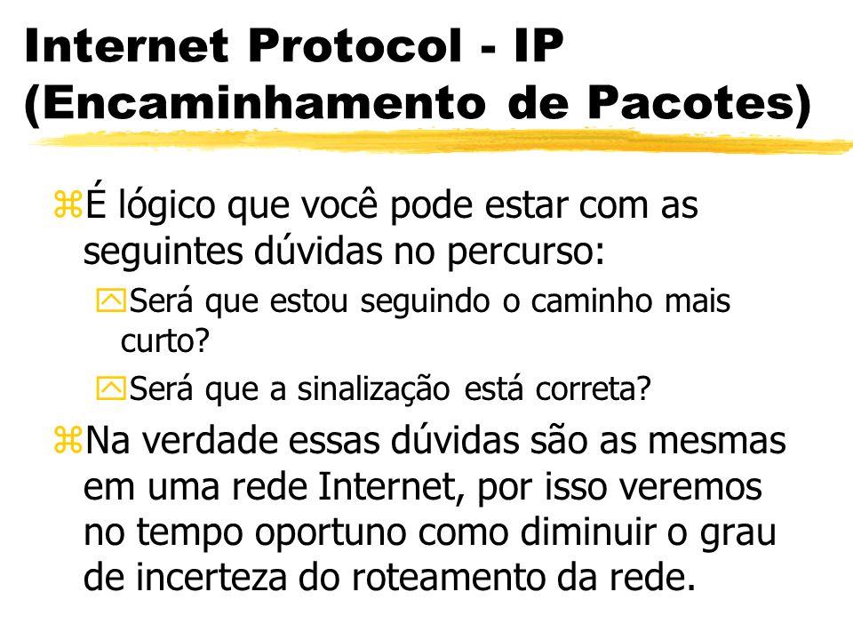 Internet Protocol - IP (Encaminhamento de Pacotes) zÉ lógico que você pode estar com as seguintes dúvidas no percurso: ySerá que estou seguindo o caminho mais curto.