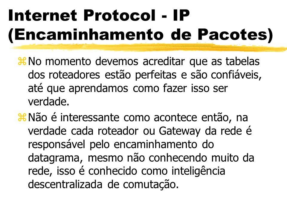 Internet Protocol - IP (Encaminhamento de Pacotes) zNo momento devemos acreditar que as tabelas dos roteadores estão perfeitas e são confiáveis, até que aprendamos como fazer isso ser verdade.