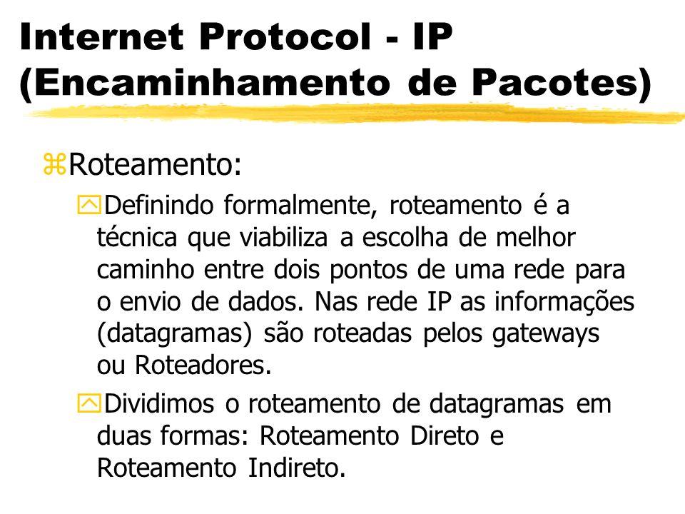 Internet Protocol - IP (Encaminhamento de Pacotes) zRoteamento: yDefinindo formalmente, roteamento é a técnica que viabiliza a escolha de melhor caminho entre dois pontos de uma rede para o envio de dados.
