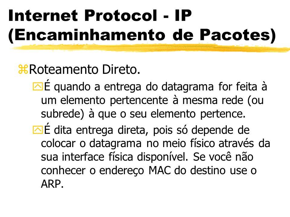 Internet Protocol - IP (Encaminhamento de Pacotes) zRoteamento Direto. yÉ quando a entrega do datagrama for feita à um elemento pertencente à mesma re