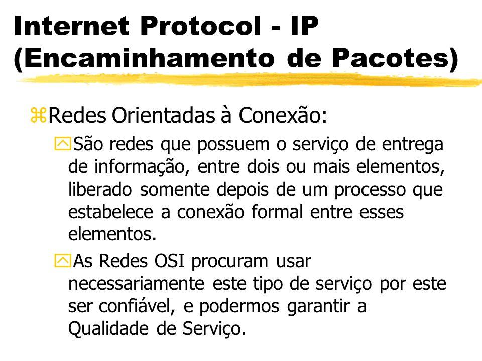 Internet Protocol - IP (Encaminhamento de Pacotes) zRedes Orientadas à Conexão: ySão redes que possuem o serviço de entrega de informação, entre dois ou mais elementos, liberado somente depois de um processo que estabelece a conexão formal entre esses elementos.