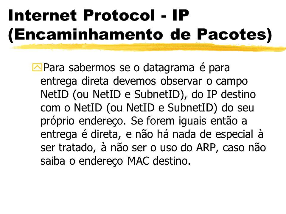 Internet Protocol - IP (Encaminhamento de Pacotes) yPara sabermos se o datagrama é para entrega direta devemos observar o campo NetID (ou NetID e SubnetID), do IP destino com o NetID (ou NetID e SubnetID) do seu próprio endereço.