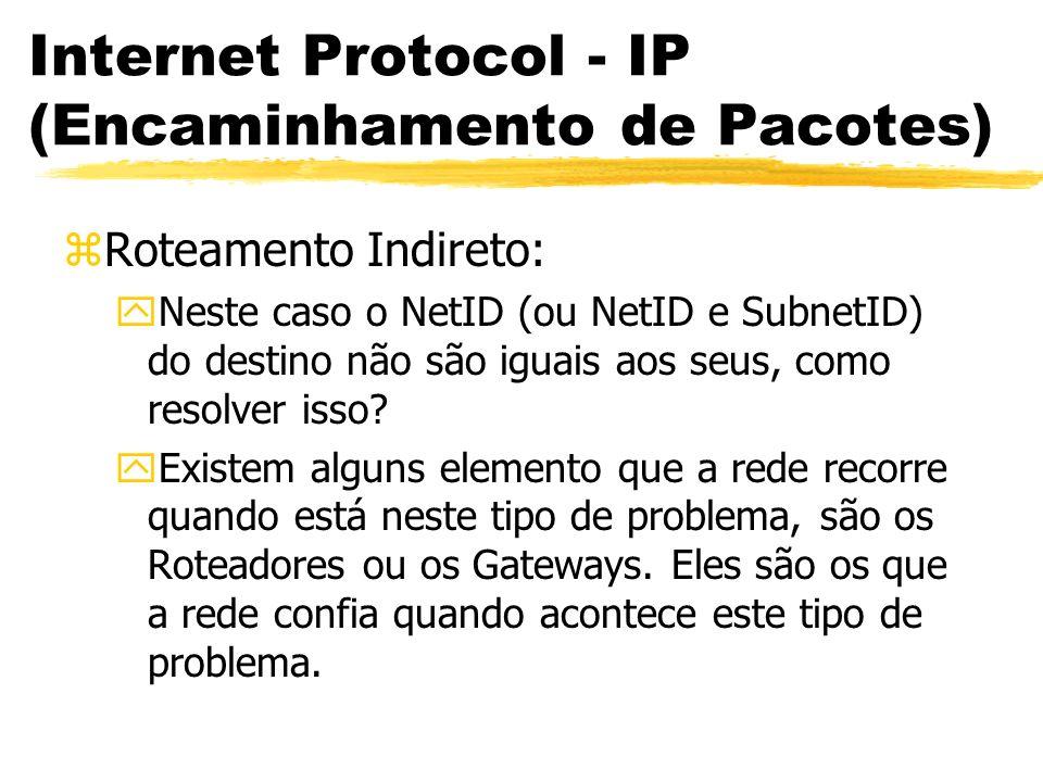 Internet Protocol - IP (Encaminhamento de Pacotes) zRoteamento Indireto: yNeste caso o NetID (ou NetID e SubnetID) do destino não são iguais aos seus,