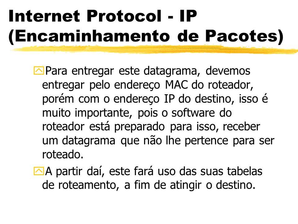 Internet Protocol - IP (Encaminhamento de Pacotes) yPara entregar este datagrama, devemos entregar pelo endereço MAC do roteador, porém com o endereço IP do destino, isso é muito importante, pois o software do roteador está preparado para isso, receber um datagrama que não lhe pertence para ser roteado.