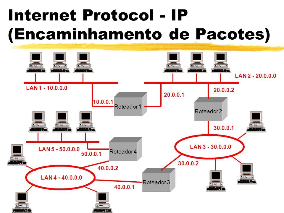 Internet Protocol - IP (Encaminhamento de Pacotes) Roteador 1 Roteador 2 Roteador 3 Roteador 4 LAN 1 - 10.0.0.0 LAN 2 - 20.0.0.0 LAN 3 - 30.0.0.0 LAN 4 - 40.0.0.0 LAN 5 - 50.0.0.0 10.0.0.1 20.0.0.1 20.0.0.2 30.0.0.1 30.0.0.2 40.0.0.1 40.0.0.2 50.0.0.1