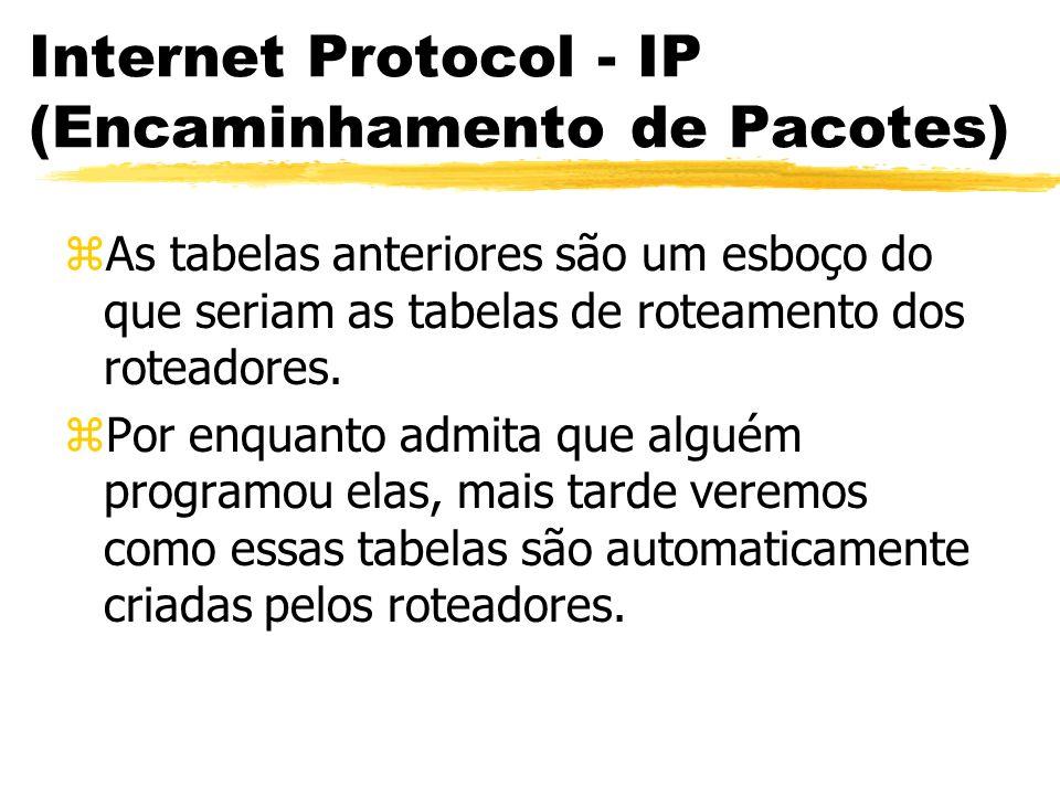Internet Protocol - IP (Encaminhamento de Pacotes) zAs tabelas anteriores são um esboço do que seriam as tabelas de roteamento dos roteadores. zPor en