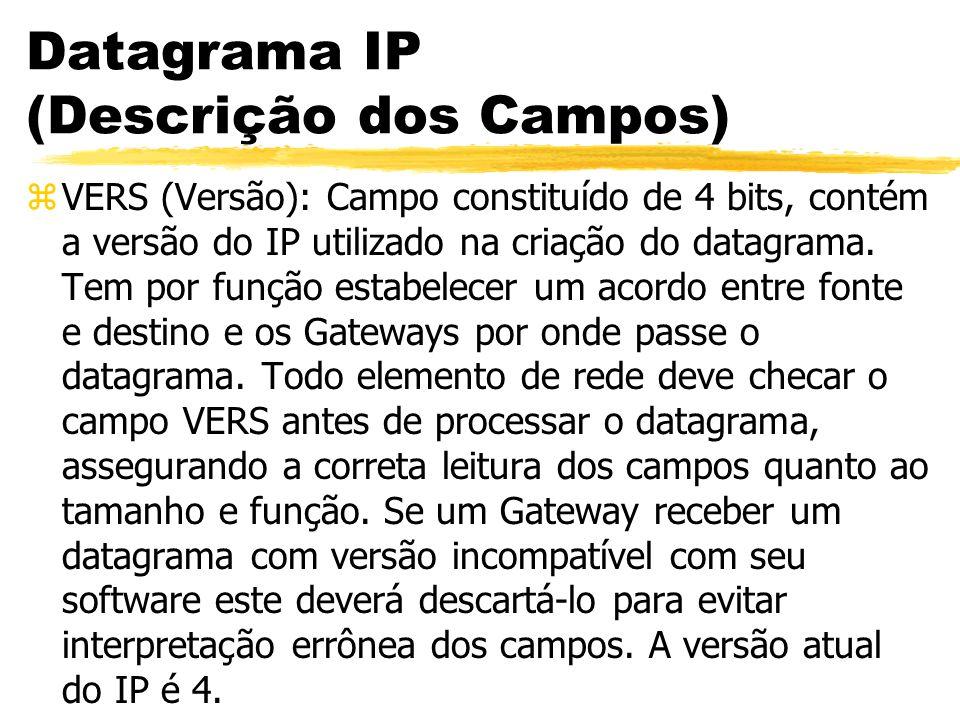 Datagrama IP (Descrição dos Campos) zVERS (Versão): Campo constituído de 4 bits, contém a versão do IP utilizado na criação do datagrama. Tem por funç
