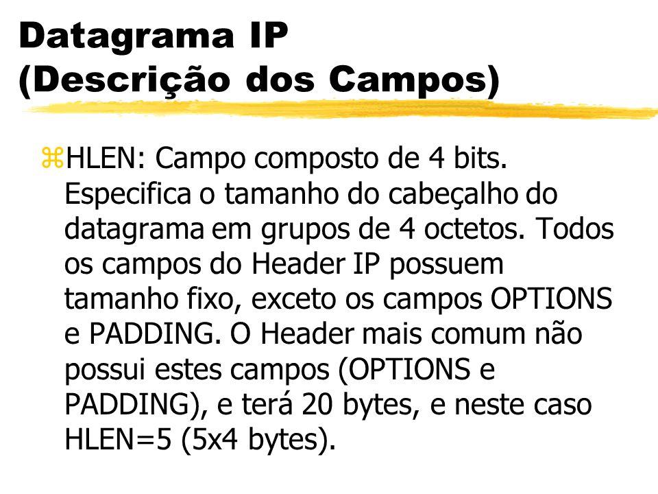 Datagrama IP (Descrição dos Campos) zHLEN: Campo composto de 4 bits. Especifica o tamanho do cabeçalho do datagrama em grupos de 4 octetos. Todos os c