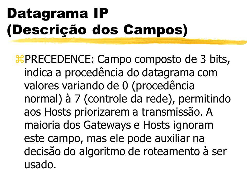 Datagrama IP (Descrição dos Campos) zPRECEDENCE: Campo composto de 3 bits, indica a procedência do datagrama com valores variando de 0 (procedência normal) à 7 (controle da rede), permitindo aos Hosts priorizarem a transmissão.