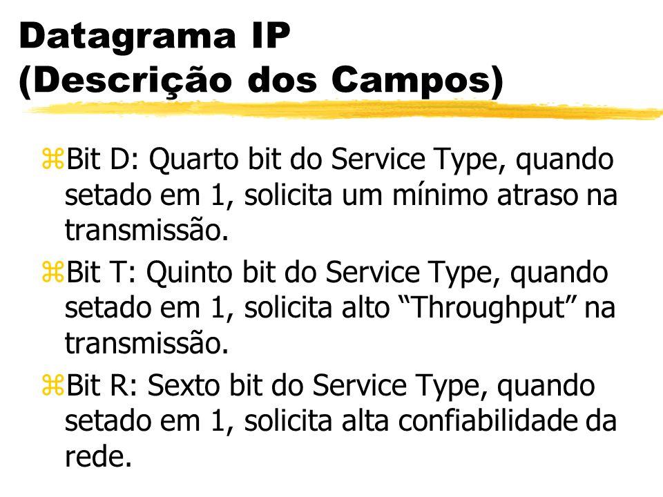 Datagrama IP (Descrição dos Campos) zBit D: Quarto bit do Service Type, quando setado em 1, solicita um mínimo atraso na transmissão. zBit T: Quinto b
