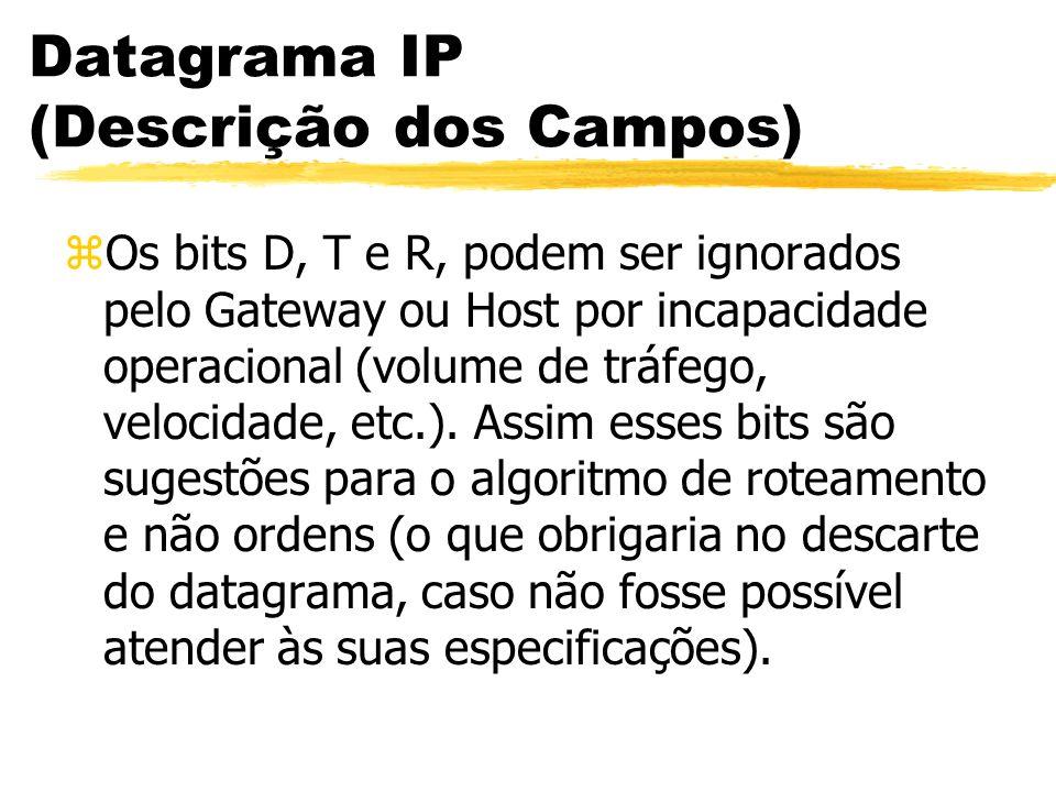 Datagrama IP (Descrição dos Campos) zOs bits D, T e R, podem ser ignorados pelo Gateway ou Host por incapacidade operacional (volume de tráfego, velocidade, etc.).