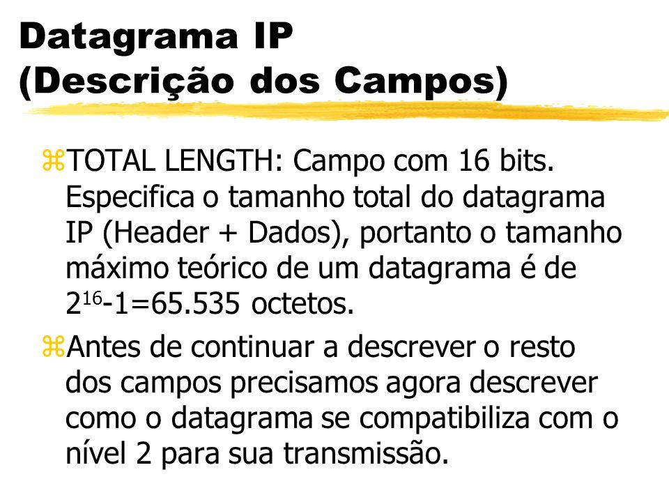 Datagrama IP (Descrição dos Campos) zTOTAL LENGTH: Campo com 16 bits. Especifica o tamanho total do datagrama IP (Header + Dados), portanto o tamanho
