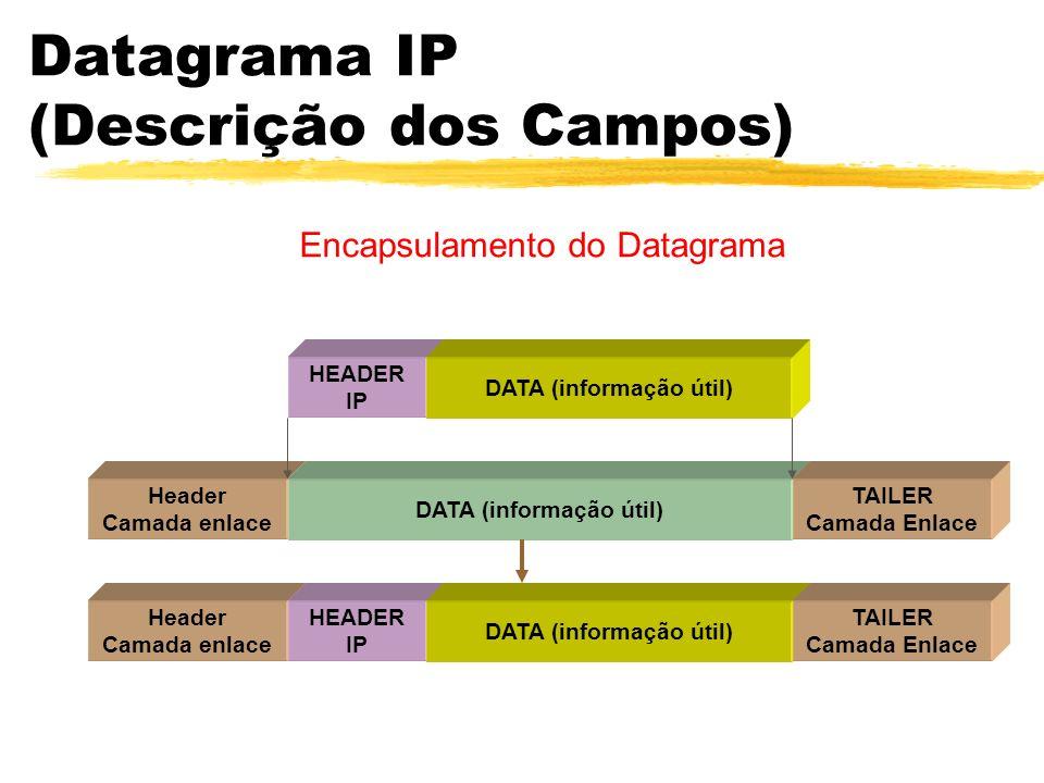 Datagrama IP (Descrição dos Campos) HEADER IP DATA (informação útil) Header Camada enlace HEADER IP DATA (informação útil) TAILER Camada Enlace Header Camada enlace DATA (informação útil) TAILER Camada Enlace Encapsulamento do Datagrama