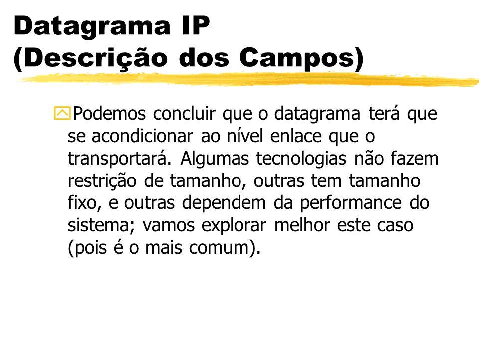 Datagrama IP (Descrição dos Campos) yPodemos concluir que o datagrama terá que se acondicionar ao nível enlace que o transportará. Algumas tecnologias
