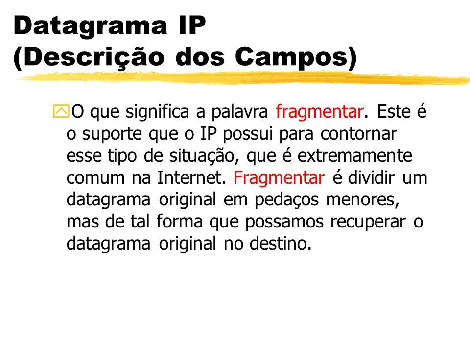 Datagrama IP (Descrição dos Campos) yO que significa a palavra fragmentar. Este é o suporte que o IP possui para contornar esse tipo de situação, que