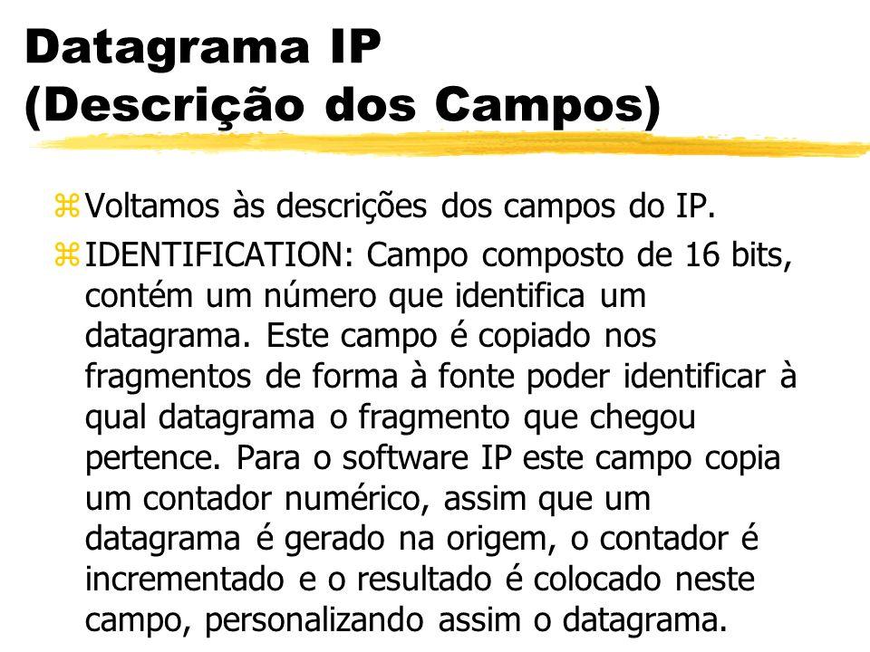 Datagrama IP (Descrição dos Campos) zVoltamos às descrições dos campos do IP. zIDENTIFICATION: Campo composto de 16 bits, contém um número que identif