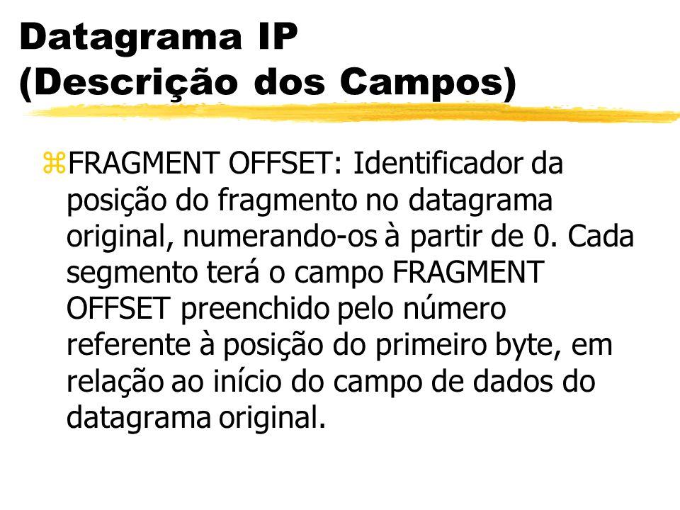 Datagrama IP (Descrição dos Campos) zFRAGMENT OFFSET: Identificador da posição do fragmento no datagrama original, numerando-os à partir de 0.