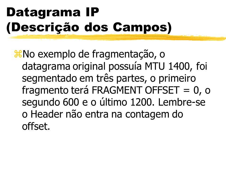 Datagrama IP (Descrição dos Campos) zNo exemplo de fragmentação, o datagrama original possuía MTU 1400, foi segmentado em três partes, o primeiro fragmento terá FRAGMENT OFFSET = 0, o segundo 600 e o último 1200.