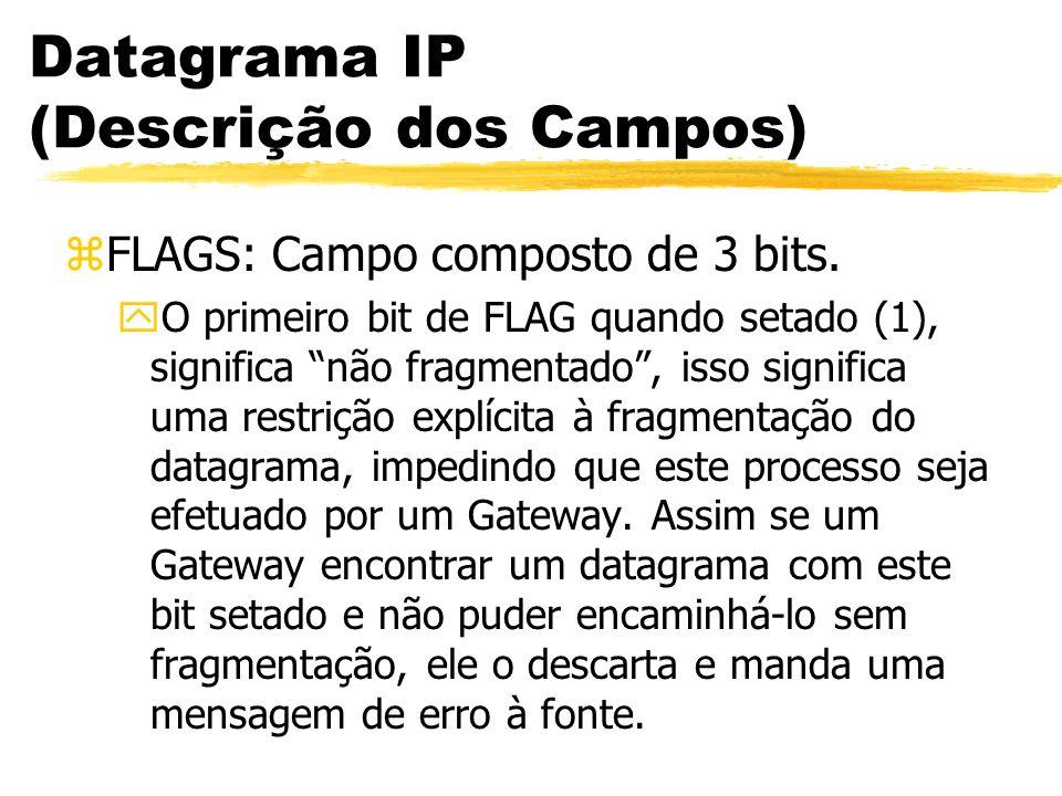 Datagrama IP (Descrição dos Campos) zFLAGS: Campo composto de 3 bits. yO primeiro bit de FLAG quando setado (1), significa não fragmentado, isso signi
