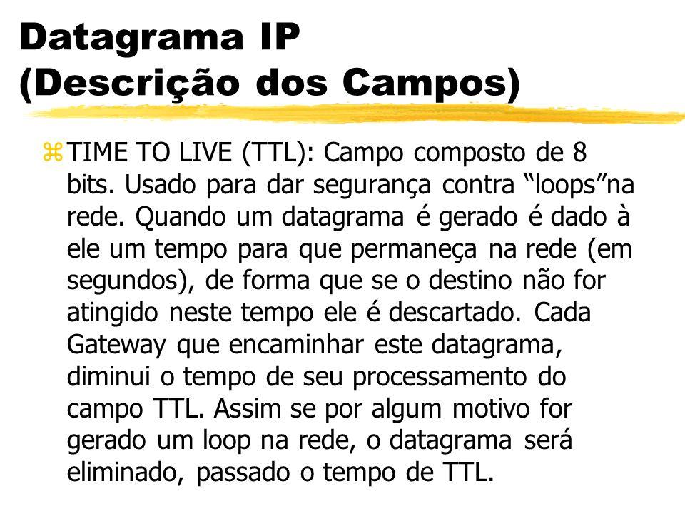 Datagrama IP (Descrição dos Campos) zTIME TO LIVE (TTL): Campo composto de 8 bits. Usado para dar segurança contra loopsna rede. Quando um datagrama é