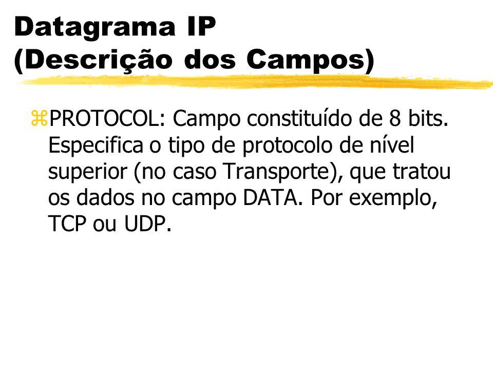 Datagrama IP (Descrição dos Campos) zPROTOCOL: Campo constituído de 8 bits. Especifica o tipo de protocolo de nível superior (no caso Transporte), que
