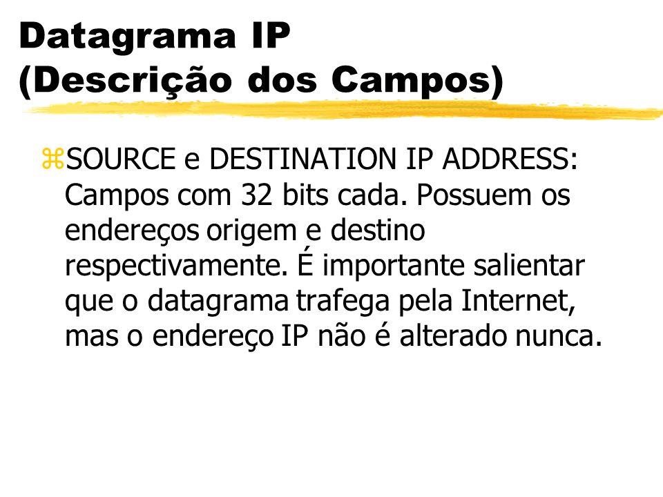 Datagrama IP (Descrição dos Campos) zSOURCE e DESTINATION IP ADDRESS: Campos com 32 bits cada. Possuem os endereços origem e destino respectivamente.