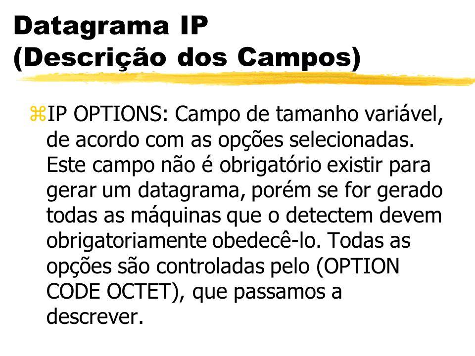 Datagrama IP (Descrição dos Campos) zIP OPTIONS: Campo de tamanho variável, de acordo com as opções selecionadas. Este campo não é obrigatório existir